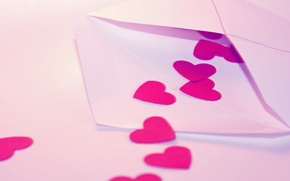 Wallpaper letter, macro, love, mood, heart, heart, hearts, love, Valentine's day, recognition, macro, hearts, the envelope, ...