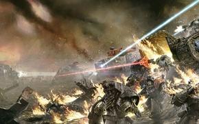 Picture fire, Horus Heresy, Warhammer 40000, space marine, terminator, tanks, Iron Warriors, land raider, leman russ