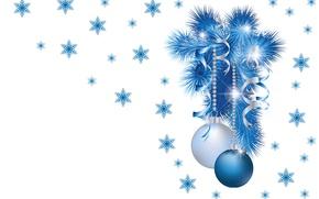 Picture balls, snowflakes, sprig, mood, holiday, new year, minimalism, art, herringbone