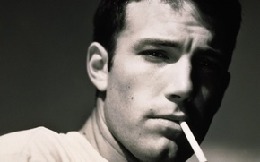 Picture look, face, black and white, cigarette, actor, Ben Affleck, mujchina