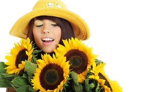 Picture girl, sunflowers, flowers, hat, brunette