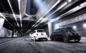 Picture night, the city, tuning, overpass, Fiat, fiat 500