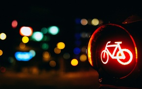 Picture road, macro, red, bike, lights, background, Wallpaper, blur, wallpaper, widescreen, background, macro, road sign, bokeh, ...
