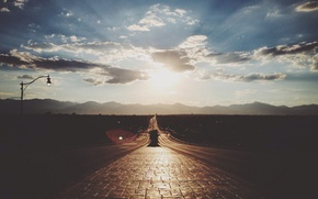 Picture road, the sky, the sun, clouds, rays, light
