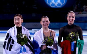 Picture flowers, victory, figure skating, Italy, flags, Russia, smile, Korea, pedestal, the Olympic rings, Sochi 2014, …