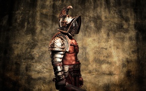 Wallpaper metal, style, armor, warrior, helmet, male, Gladiator, flesh, Gladius