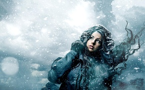 Picture winter, girl, snow, snowflakes, the wind, jacket