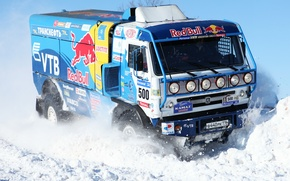 Picture Truck, 500, Kamaz, Master, Blue, Winter, Rally, KAMAZ, Dakar, Red Bull, Snow