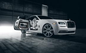 Picture Rolls-Royce, Car, White, Wheels, Class, Premium, Wraith, Vellano