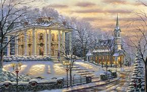 Picture snow, decoration, lights, house, Robert Finale