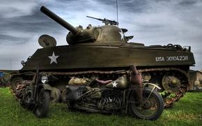 "Picture model, war, tank, Harley-Davidson, average, M4 Sherman, period, world, Second, 1942., WLA, ""Sherman"", military motorcycles"