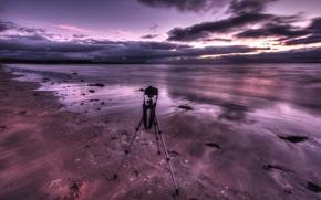 Picture sea, landscape, night, shore