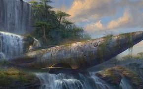 Wallpaper rocks, waterfall, art, abandonment, submarine, Drake's Fortune, Uncharted
