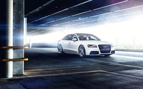 Picture Audi, Parking, white, Blik, front, A8 L