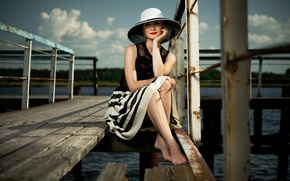 Picture girl, makeup, pier, blonde, railings, hat