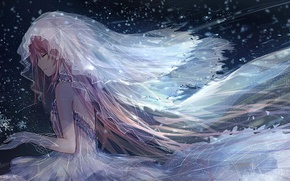 Picture water, girl, snow, snowflakes, anime, art, veil, mahou shoujo madoka magica, madoka kaname, girl madoka, …