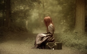 Picture road, forest, girl, mood, suitcase