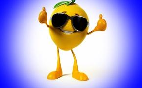 Wallpaper smile, lemon, glasses, class, lemon, blue background, smile, blue background, glasses, class