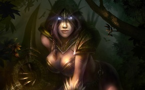 Picture weapons, wow, art, world of warcraft, Dmitriy Prozorov, elf, ears, elf, forest