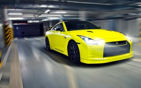 Picture yellow, nissan, Parking, sports car, gtr