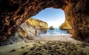 Picture sea, girl, rocks, the grotto