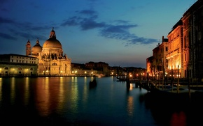 Picture night, lights, Italy, Venice, channel, the Cathedral of Santa Marie della Salute