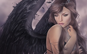 Wallpaper girl, wings, angel