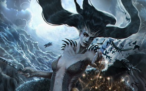 Wallpaper magic, art, witch, Outcast Odyssey, darkness, hair