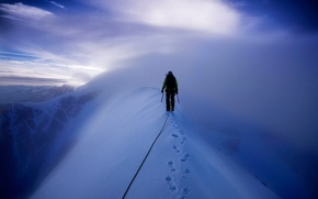 Picture snow, mountains, climber, Mont Blanc, climbing