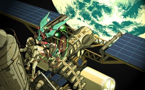 Picture space, wings, astronaut, Earth, Hatsune Miku, Vocaloid, Vocaloid, spaceship, contact, the spacewalk