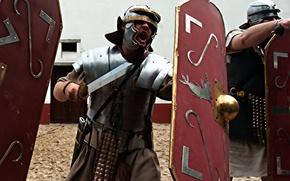 Picture background, helmet, armor, Legionnaire, male, sword, Rome, shield