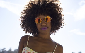 Picture girl, lips, hair, glasses, carefree, sunny