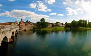 Picture the sky, trees, bridge, the city, river, photo, Italy, Emilia-Romagna, Rimini