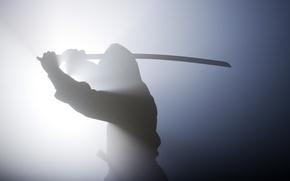 Picture the situation, spirit, sword, katana, blur, warrior, silhouette, shadows, haze, camouflage, ninja, equipment, ammunition, bokeh, …