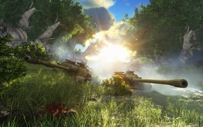 Picture forest, art, tanks, WoT, World of Tanks, S. T. V. O. L., SU-122-54