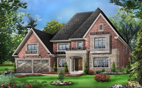 Wallpaper lawn, house, 3D, the bushes, mansion, trees, garden, graphics, design, flowers
