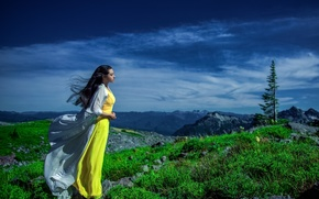 Picture girl, mountains, dress, profile