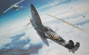 Picture war, art, Spitfire, painting, ww2, dogfight
