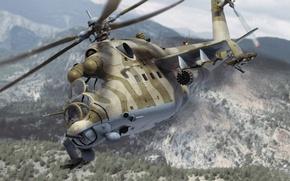 Wallpaper Military, Flight, Soviet, Mi-24, Helicopter, Transport-Combat, Aviation