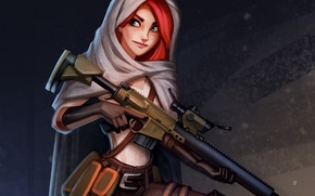 Picture girl, weapons, art, hood, red, the gun, cloak, DeadShot