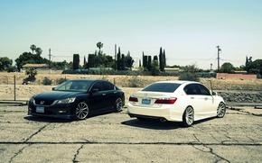 Picture white, wheels, Honda, Accord, black, stance, Galpin, wossen