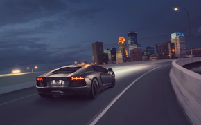 Picture Lamborghini, Light, Speed, Black, LP700-4, Aventador, Supercar, Rear