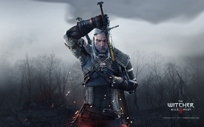 Picture White, Forest, Sword, Corpses, Wolf, Runes, The Witcher, The Witcher, Wild, Geralt, RED, Gwynbleidd, Geralt, …