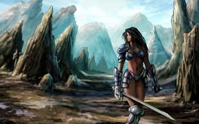 Picture armor, rocks, girl, sword, mountains
