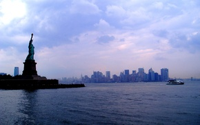 Picture United States, skyline, woman, water, New York, Manhattan, NYC, New York City, view, ship, buildings, …