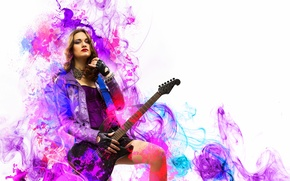 Picture girl, music, guitar, rock