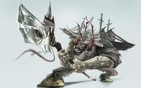 Wallpaper weapons, tattoo, axe, warrior, the Minotaur, swords, teeth, grin, horns