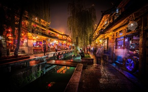 Picture China, Old City, Lijiang, night