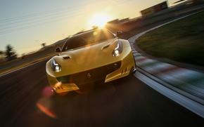 Picture the sun, track, supercar, ferrari, f12, f12tdf