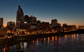 Picture river, architecture, twilight, Nashville, Tn, Nashville